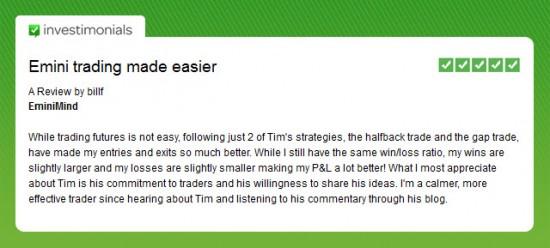 Emini Trading Made Easier - Investimonials Testimonial